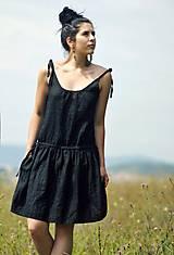 Šaty - Lněné šaty /šatovka černá - 10990682_