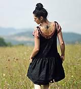 Šaty - Lněné šaty /šatovka černá - 10990683_