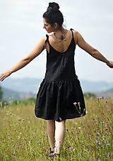 Šaty - Lněné šaty /šatovka černá - 10990687_