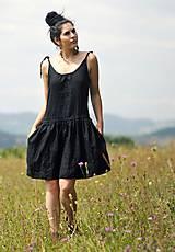 Šaty - Lněné šaty /šatovka černá - 10990688_