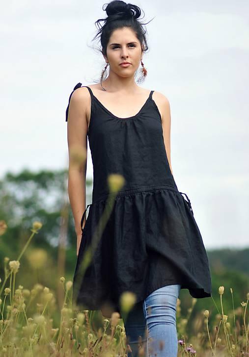 Lněné šaty /šatovka černá
