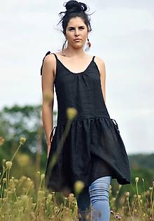 Šaty - Lněné šaty /šatovka černá - 10990680_