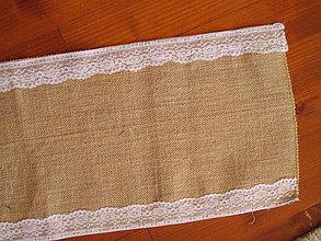 Úžitkový textil - Šerpa z juty šírka 28cm s čipkou po okrajoch s dĺžkou 2,75m - 10991172_