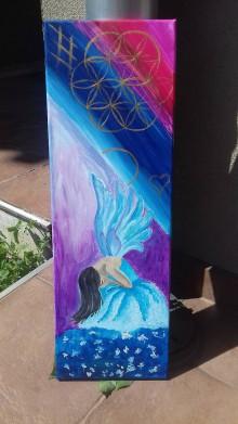 Obrazy - Obraz kvet života a aniel - 10989280_