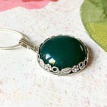 Náhrdelníky - Green Onyx Filigree Pendant AG925 / Strieborný prívesok so zeleným ónyxom /A0051 - 10994469_