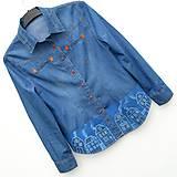 Košele - Denimová košile Domečky - 10991829_