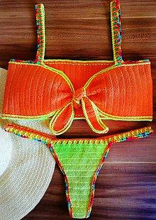 Bielizeň/Plavky - Oranžové háčkované plavky - 10994565_