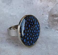 Prstene - prstienok dots modrá - 10991683_