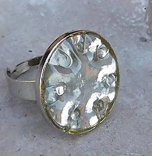 Prstene - retro prstienok priehľadné striebro - 10993667_