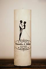 Svadobná sviečka pre mladomanželov - MEGA VEĽKÁ 9,4x25cm