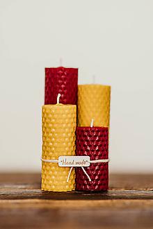 Svietidlá a sviečky - Sviečka zo 100% včelieho vosku - Točené tenké - Bordové - 10994199_
