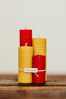 Svietidlá a sviečky - Sviečka zo 100% včelieho vosku - Točené tenké - Červené (Červená) - 10994207_