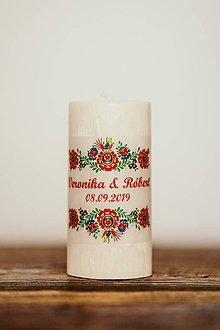 Darčeky pre svadobčanov - Sviečka pre mladomanželov - Folklórna  (B) - 10994235_