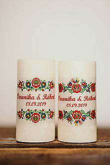 Darčeky pre svadobčanov - Sviečka pre mladomanželov - Folklórna - 10994244_