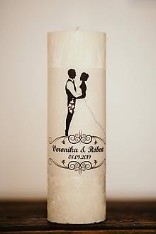 Darčeky pre svadobčanov - Svadobná sviečka pre mladomanželov - MEGA VEĽKÁ 9,4x25cm - 10994392_