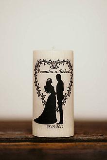Darčeky pre svadobčanov - Sviečka pre mladomanželov v darčekovej krabičke - Manželský pár 4 (A) - 10994412_