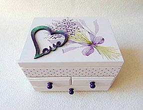 Krabičky - Šperkovnica so zrkadlom Levanduľová - 10994370_