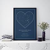 Grafika - SRDCE, nočná obloha, moderná modrá - 10992159_