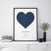 Grafika - SRDCE, nočná obloha, minimalistická modrá - 10992367_
