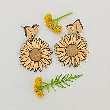 Náušnice - slnečnica ~ napichovisiačky (natur) - 10994218_