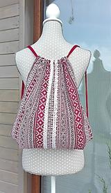 Batohy - BackPack/Batoh/Vak - červeno - biely folk - 10993349_