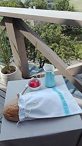 Úžitkový textil - Ľanové vrecko na veľký chlieb belasou cifrované 40 x 27 cm - 10993489_