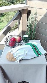Úžitkový textil - Ľanové vrecko na veľký chlieb zelenou cifrované 41 x 32 cm - 10993536_