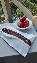 Úžitkový textil - Ľanové vrecko na veľký chlieb cifrované 42 x 27 cm - 10993618_