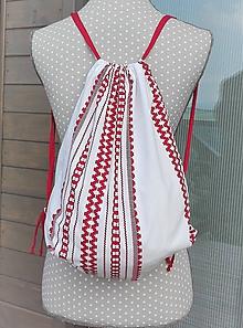 Batohy - BackPack/Batoh/Vak - bielo-červený folk - 10993292_