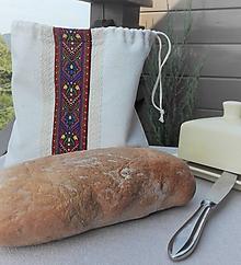 Úžitkový textil - Vrecúško z ručne tkaného slovenského ľanu na menší chlieb a pečivo - 10993659_