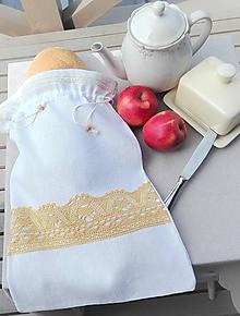 Úžitkový textil - Ľanové vrecko na veľký chlieb horčicovou cifrované 45 x 31 cm - 10993861_