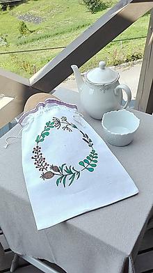 Úžitkový textil - Ľanové vrecko na chlieb a pečivo ručne maľované, levanduľou cifrované 38x26 cm - 10993924_