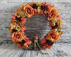 Dekorácie - Mega jesenný veniec s ježkom cca 45cm - 10993115_