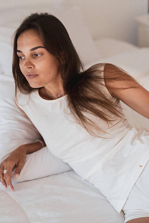 Dámske tielko z organickej bavlny široké ramienka (S Biela)