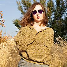 Svetre/Pulóvre - dámsky sveter zlatý med - 10993777_