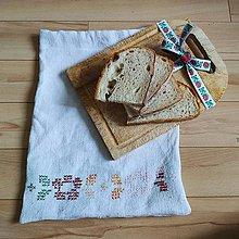 Úžitkový textil - Zero waste ľanové vrecúška - vyšívané - 10994250_