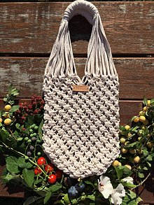 Nákupné tašky - Macrame kabelka na nákupy - 10992441_