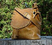 Kabelky - Ručně šitá kožená kabelka Karamelka - 10994534_