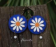 Náušnice - Sedmokráska v modrej - 10994378_