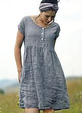 Šaty - šedomodré šaty lněné - 10993502_