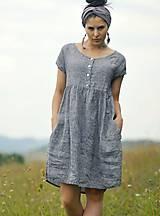 Šaty - šedomodré šaty lněné - 10993504_