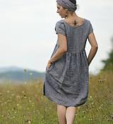 Šaty - šedomodré šaty lněné - 10993506_