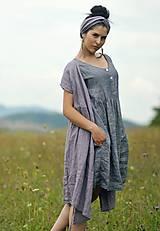 Šaty - šedomodré šaty lněné - 10993507_
