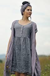 Šaty - šedomodré šaty lněné - 10993508_