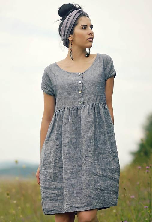 šedomodré šaty lněné