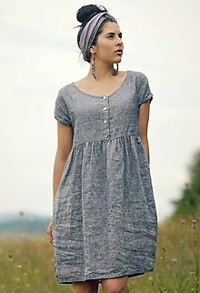 Šaty - šedomodré šaty lněné - 10993503_