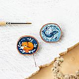 Odznaky/Brošne - Ručně malovaná brož se spící liškou - 10996383_