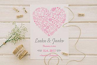 Papiernictvo - Svadobné oznámenie srdiečko - 10996216_