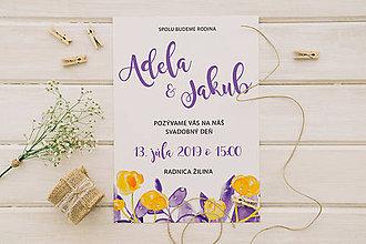 Papiernictvo - Svadobné oznámenie yellow violet - 10996647_