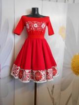 """Šaty - Šaty s vyšívaným tričkom a kruhovou sukňou """" RED """" - 10995883_"""